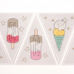 sewable embroidered heavy card bunting, buniting kits - sew your won, Ice Cream bunting crafts