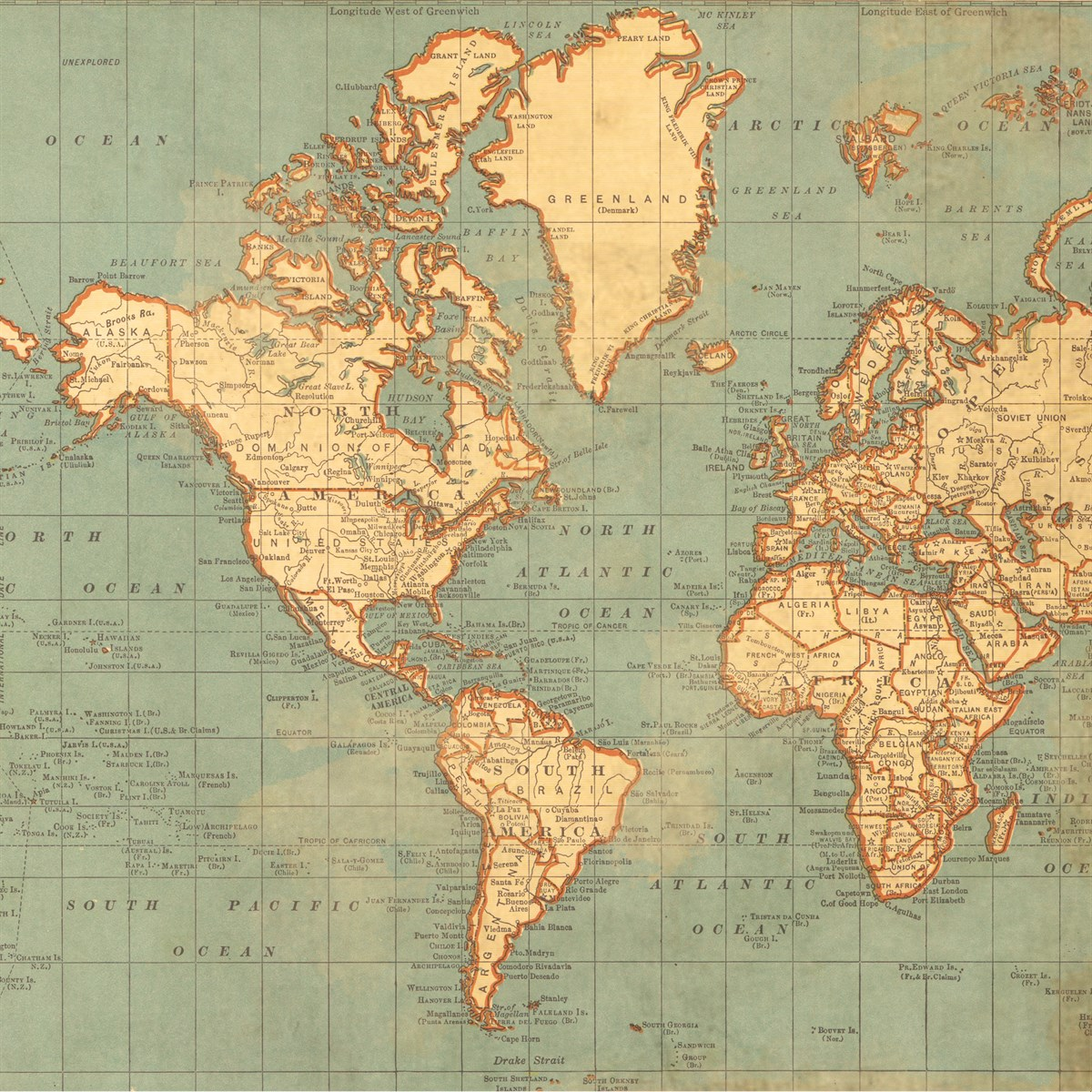 Map of the World Wrapping Paper | The Costume Rooms