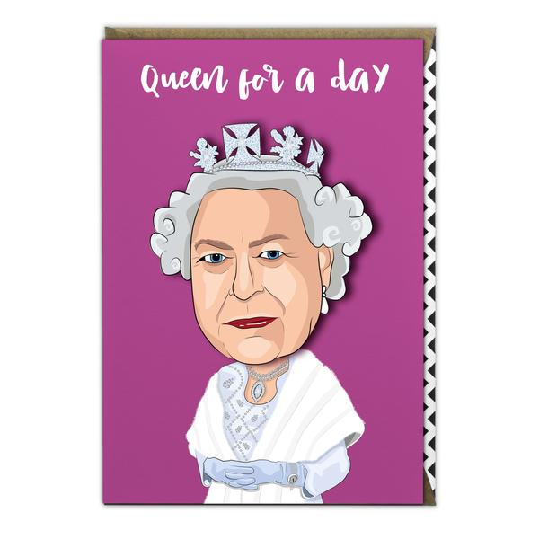 famous faces cards, wobbly heads cards, queen elizabeth birthday card