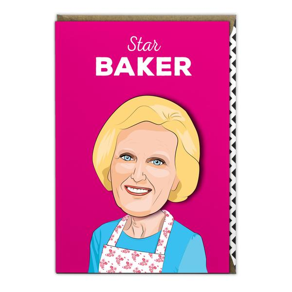 mary berry birthday card, famous faces cards for sale, mary berry wobbly head card, cards for sale in bude north cornwall, the costume rooms gift stationery and card shop