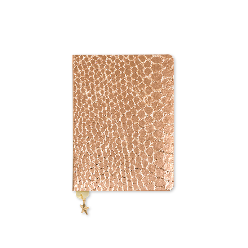 rose gold notebooks, rose copper sequins