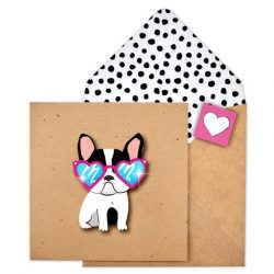 to cool french bulldog glitter card