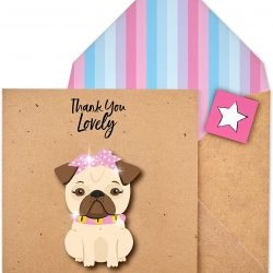 Glitter Pug card - thank you - by Tache