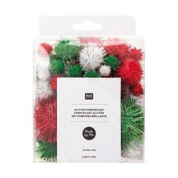 red and green christmas pom-poms - classic christmas colours at The Costume Rooms