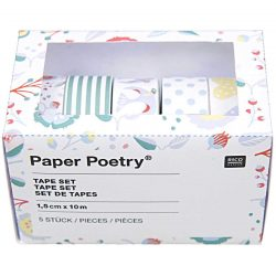 hearts and birds GREEN pack of 5 washi tapes by Paper Poetry