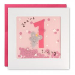 age 1 birthday card for girl - 100% recyclable card