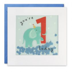 age 1 paper shaky birthday card - the costume rooms