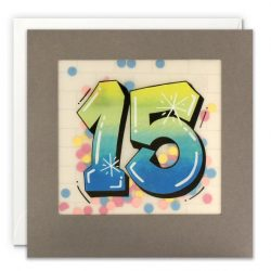 aged 15 years old birthday card - designer birthday cards - grafiti style