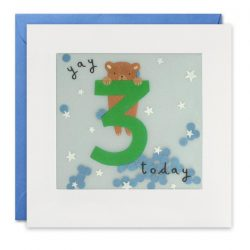 blue bear age 3 paper shaky card - hand made in UK cards