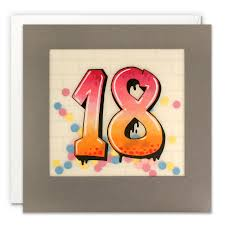 18th birthday card - teenager grafiti cards - online James Ellis stockists