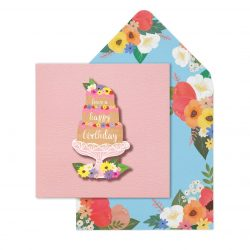 Birthday pretty pink cake - feminie pretty cards by lashes and tache - online cards