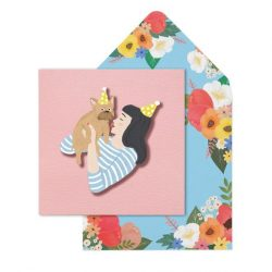 birthday girl and frenchie dog - funky dog lover cards