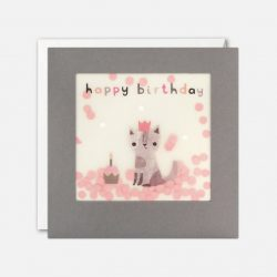 cute cat birthday card with paper confetti - james ellis cards online