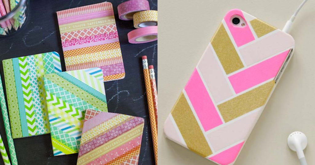 what can I decorate washi tapes with - notebooks crafts ideas and mobile phone craft ideas