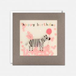 cute zebra paper confetti birthday cards - james ellis stockists