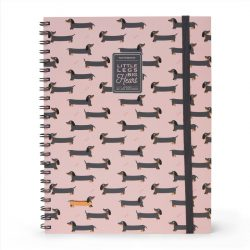 A4 sausage dog notebooks - lined squared and dotted pages