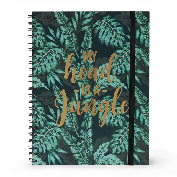tropical leavs A4 notebooks - elastic band and sprial bound - lined ruled and maths papers inside
