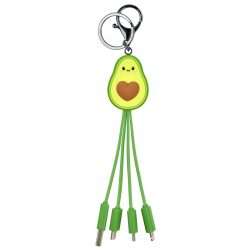 kawaii avocado multiple charging cables - cute tech gift ideas