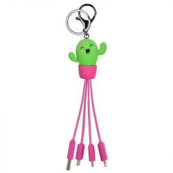 Cactus kawaii happy cute multiple phone cables - teen accessories and gift ideas