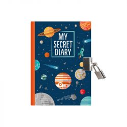 spaceman and rockets and planets stationery - padlockable diaries for boys - boyish stationery