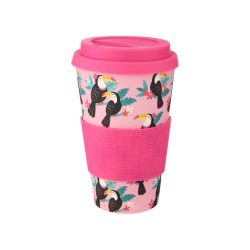 tropical birds toucan travel mug - pink gift ideas for the tropical lover