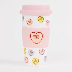 love hearts travel mug - coffee mugs on the go - swizzels brand