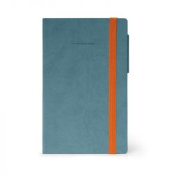 denim blue notebook with orange elastic closure - mynot0100 - My notebook range by Legami