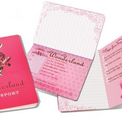 alice in wonderland A6 notebook with fun passport style - the costume rooms stationers
