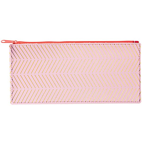 pretty in pink and gold pencil case - fake leather feel pencil cases - The costume rooms fun stationery