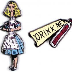literature themed badges and pins - is there a shop online that has a different section for alice in wodnerland gifts and stationery