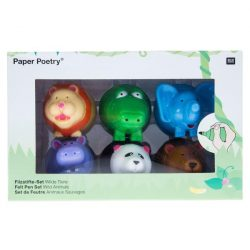 childrens clutch colouring pens for 3 + over - animal shaped colouring felt tip pens