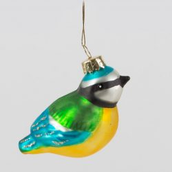 blue tit glittery glass bauble for christmas tree decorations - ornacology gift ideas