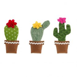 knitted cactus hanging decorations by sass & Belle at the Costume Rooms