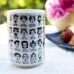 its hard to get a handle on English Royalty - history themed mugs at The Costume Rooms UK