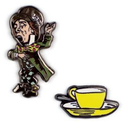 enamel pins of alice in wonderland - classic literartue gift ideas - what to get an english teacher