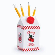 cherry milkshake carton pen pot - amazing pen pots online at the costume rooms