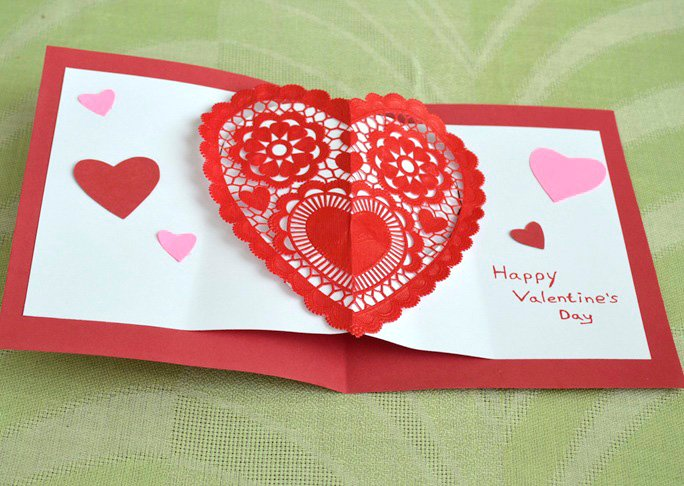 home made valentine crdas with paper doily - the costume rooms independant shops