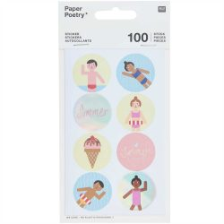 beach themed retro stickers - Paper poetry